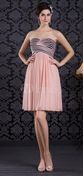 Vestido de damas de color de satén rosado sin tirantes de estilo de princesa - Milanoo.com
