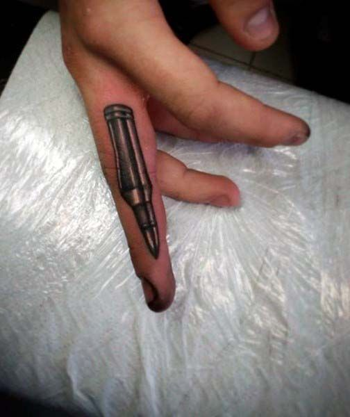 Silver Finger Bullet Mens Tattoos