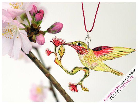 Kette Vogel Blüte  Kolibri  STERNELFE mit BLÜTE  von fraufischers, €38.00