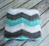 Teal, Grey and White Chevron Blanket