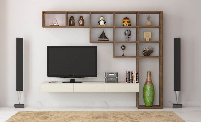 Drawing Room Corner Showpiece: 7 Cool Contemporary TV Wall Unit Designs For Your Living