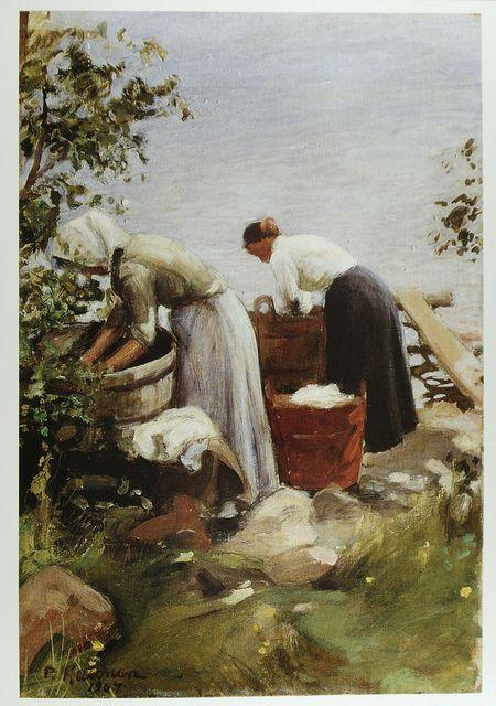 Pekka Halonen 1865-1933 Pyykkärit rannalla