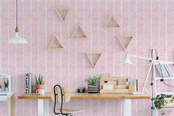 Watercolor Herringbone Light Pink Removable Or Etsy Light Pink Walls Herringbone Wallpaper Pink Wallpaper Bedroom