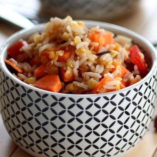 Salade aux trois riz et lentilles de corail