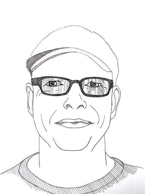 Portrait Mann mit Brille und Mütze, Tusche auf Künstlerpapier Din A4