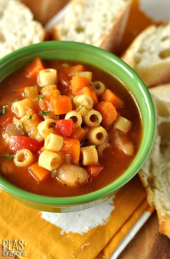 Winter Vegetable Minestrone Soup 1-2 TBSP olive oil 1 cup onion [approx ½ a large onion] 1 cup celery [approx 2 large stalks] 1 cup red bell pepper [approx 1 pepper] 2 cups carrots 2-4 large cloves of garlic 2 cups cubed butternut squash 5-6 cups vegetable broth 1 cup canned tomato sauce 1 [15 oz] can cannellini beans-trade out for chicken 1 bay leaf 1 tsp parsley ½ tsp sea salt, or salt to taste ¼ tsp garlic powder ¼ tsp dried basil ⅛ tsp dried oregano 1 or 1+ ½ cups ditalini pasta