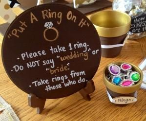 "Don't Say It game for bridal shower. Instead of using clothes pins, we used plastic ""engagement"" rings. I called it ""Put a Ring On It."" #bridalshower #game by clare"