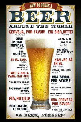 How to Order a Beer Around The World Pôster que ensina como pedir cerveja em várias línguas