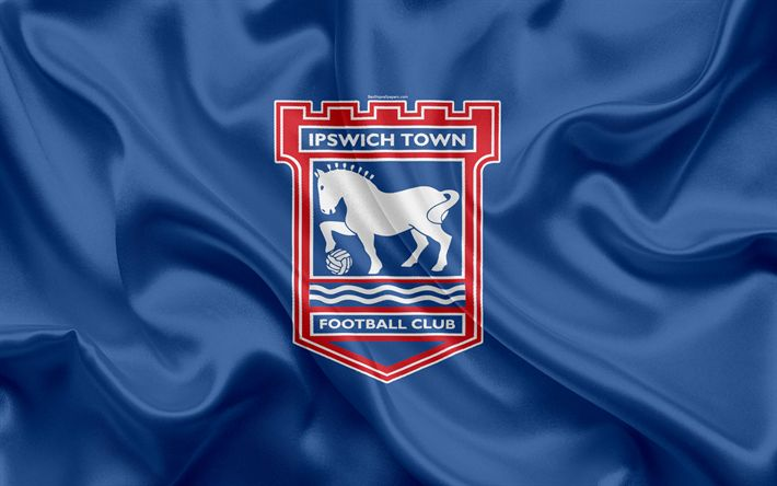 Download wallpapers Ipswich Town FC, silk flag, emblem, logo, 4k, Ipswich, UK, English football club, Football League Championship, Second League, football