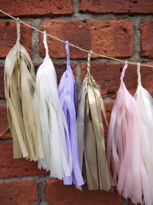 Close up  with our DELYSIA large tassel garland Handmade from pink, lilac, cream, sand and gold tissue   Luxury handmade party decorations Check out our store - paperstreetdolls.etsy.com