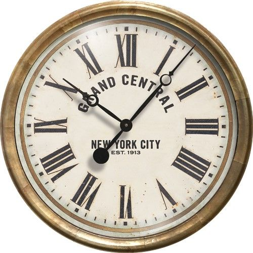 Grand Central Station Clock Is A Nice In Diameter. The Rim Is Made Of Metal  With Antiqued Copper Sheeting. Glass Lens Protects The Printed Vintage  Artwork.
