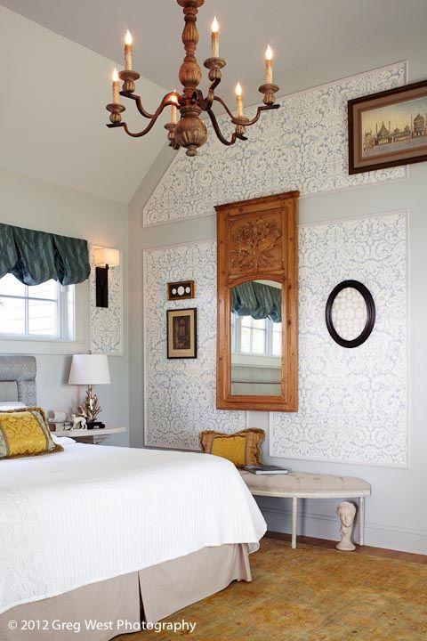 Retreat Custom Headboard Antique French Trumeau Mirror With Original Finish Panels Wallpaper Designed By Meredith Bohn Interior Design
