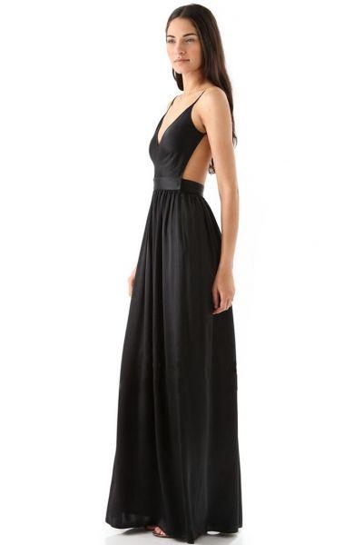 Elegant V Neck Backless Maxi Dress OASAP.com