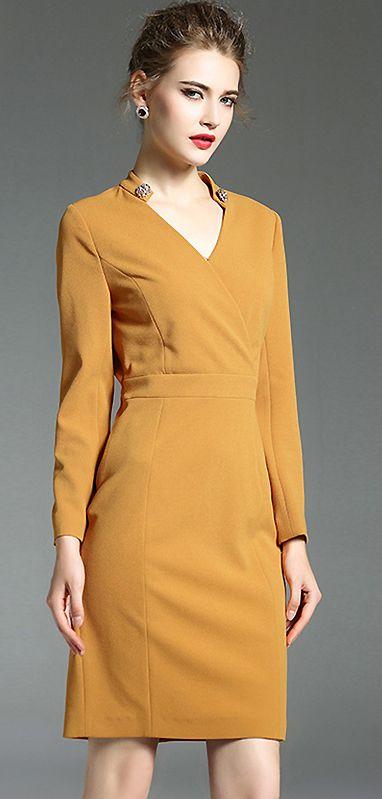 Brief V-Neck Long Sleeve Slim Bodycon Dress