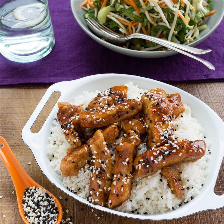 Hoisin-Glazed Pork with Asian Apple Slaw and Sesame Rice