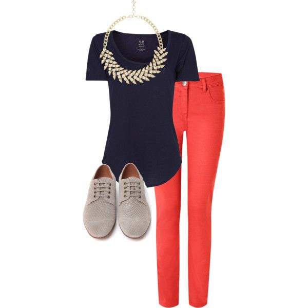 Coral jeans with navy and grey. #casualfriday #whatiworetoday