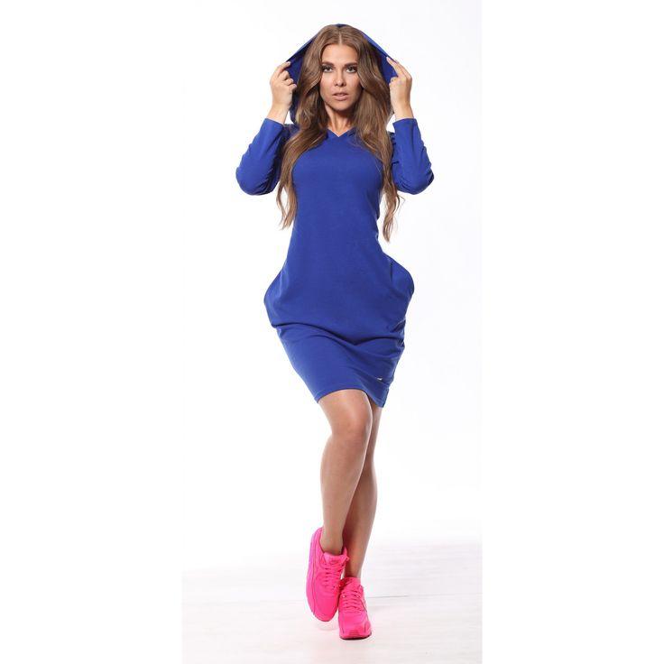 Rochie albastra casual-sport cu gluga si buzunare #rochiisport #rochiicasual