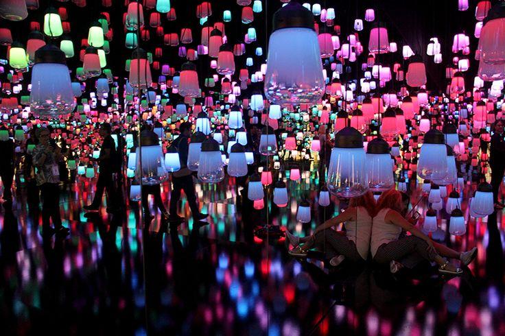 teamlab forest of resonating lamps maison et objet paris installation designboom