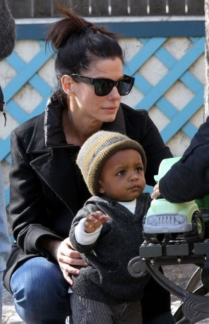 Sandra Bullock with son Louis Bardo Bullock, adopted in New Orleans. Ironically, she adopted Louis right after her role in The Blind Side.