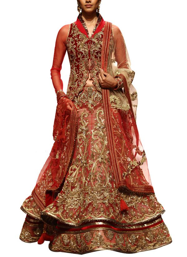 designer lehengas, red and antique - Google Search