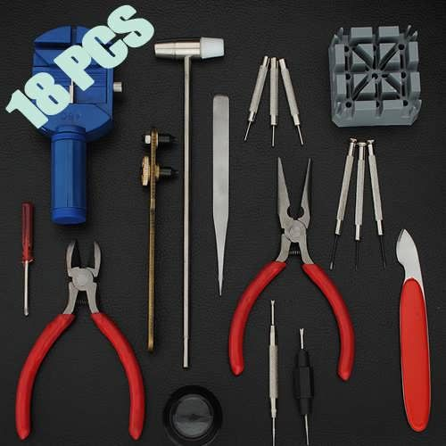 18 PCS Watch Repair Tool Kit Set Case Ooener Pin Remover 	Kit Set Including: 	1. Watch case opener 	2. Spring bar tool & link pin punch 	3. Screwdriver x 5 	4. Watch case opening knife 	5. Fine nosed tweezers 	6. Double headed hammer nylon/ steel 	7. Link removal tool 	8. Soft work pad 	9....