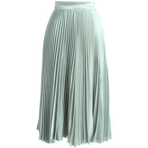 Chicwish Sweetest Sheen Pleated Midi Skirt in Mint ($45) ❤ liked on Polyvore featuring skirts, green, green midi skirt, mid calf skirts, metallic skirts, mint green pleated skirt and calf length skirts