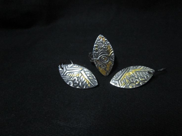 Cris Briz Silver ring and earrings with keum boo