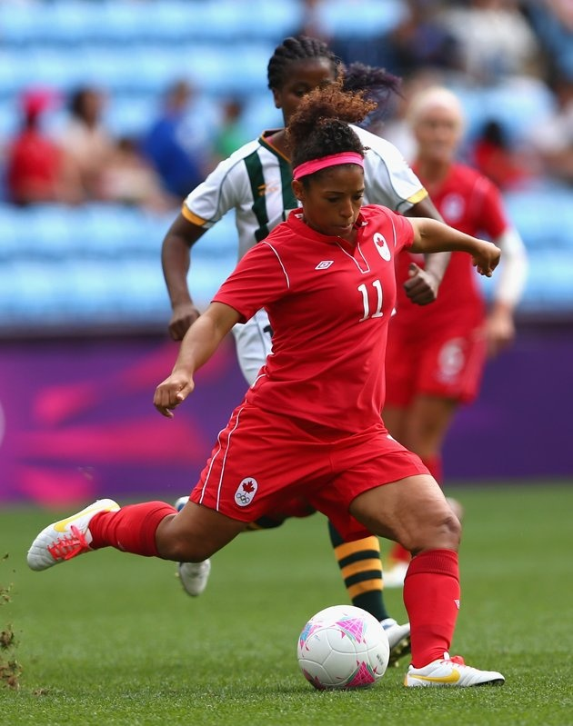 COVENTRY, ENGLAND - JULY 28: Desiree Scott of Canada passes the ball during the Women's Football first round Group F Match of the London 2012 Olympic Games between Canada and South Africa, at City of Coventry Stadium on July 28, 2012 in Coventry, England. (Photo by Quinn Rooney/Getty Images)