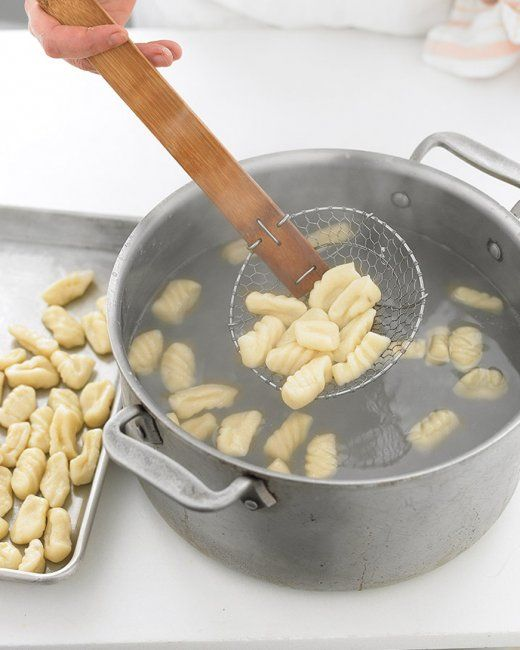 "Gnocchi. Equal parts potato (mashed) and flour, plus one egg per 3 medium potatoes. Roll into finger-width logs. Cut to approx. 1"" sections. Place in boiling water. When they float, pull them out, rest them on a rack for a few minutes to dry off. Add to sauce, and enjoy."