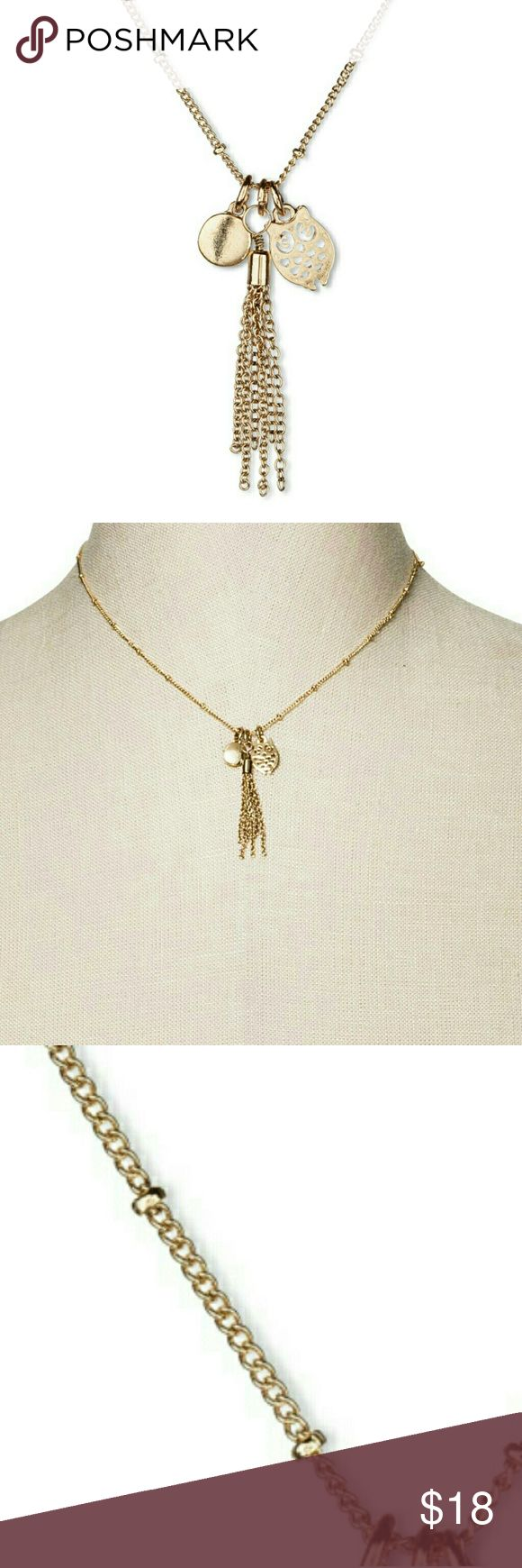 """NWT Wisdom Gold Owl Tassle Necklace _Gold Trinket Owl Necklace. Add a Dash of Whimsy to Your Favorite Looks with this Women's Wisdom Necklace.  _Highlights: Shiny Antique Gold-Tone Finish 16"""" Long Chain with Tiny Gold Spaced Pieces, Sweet Owl, Tassel & Gold Round Charms. Secure Lobster Clasp Closure &   _No Discoloration_No Tears_No Stains_ _OFFERS WELCOME_TRADE ALSO _DOG FRIENDLY_SMOKE FREE HOME Jewelry Necklaces"""