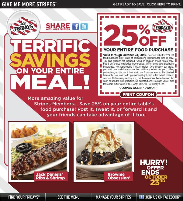 Tgi Fridays London Coupons And Available Printable