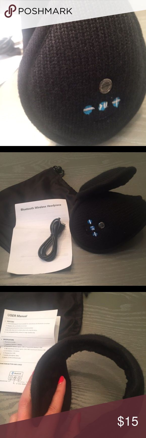 Bluetooth Headphone Earmuffs New, never used. Pouch/instructions included. Accessories Hats