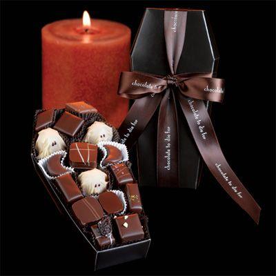 World's Finest Gourmet Halloween Chocolates- Burdick's Chocolate to Die For Halloween chocolate coffin assortment -