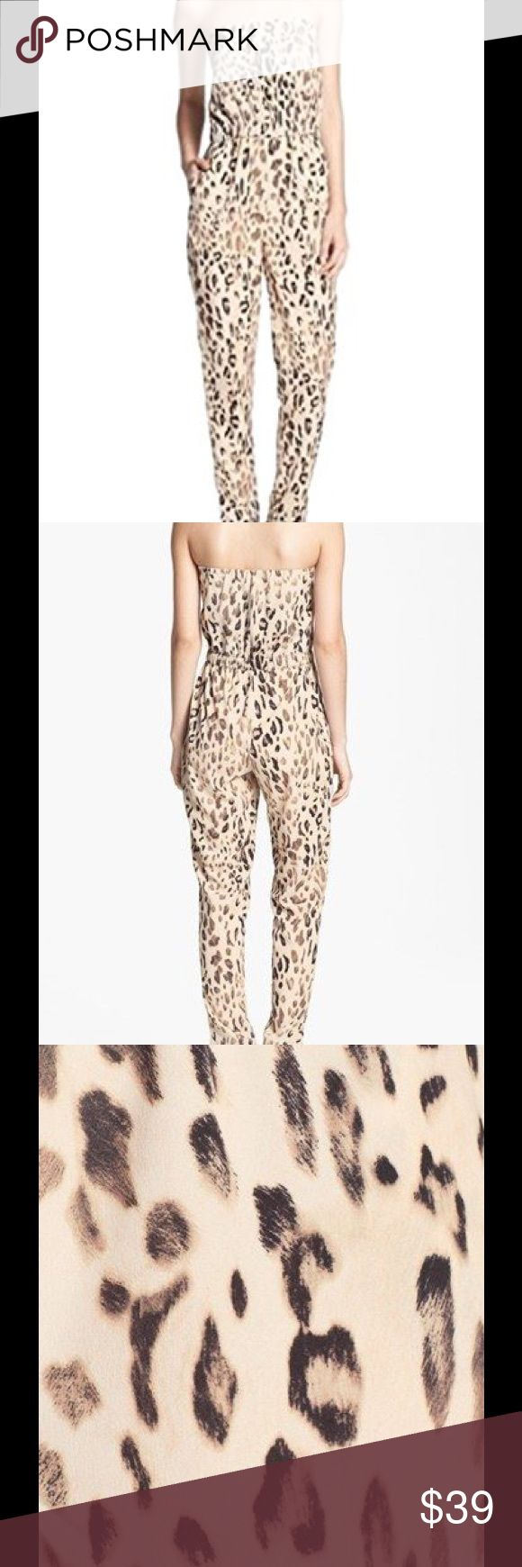 WAYF Animal Print Jumpsuit, Size large WAYF black brown beige strapless animal print Jumpsuit.  Size Large.  Lined upper.  Side seam pockets, Leopard print.  Material: 100% Polyester.  Dry Clean.  Made in USA.  Condition: New Wayf Pants Jumpsuits & Rompers
