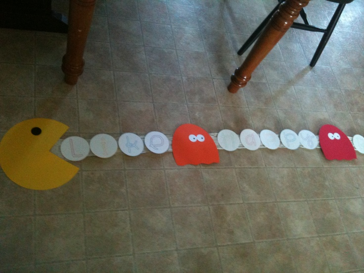 """1980's Birthday Party decorations - PacMan Banner """"vitamins"""" say Like Happy Birthday and then the childs name.  A ghost is between each word as a space. Kids theme party"""