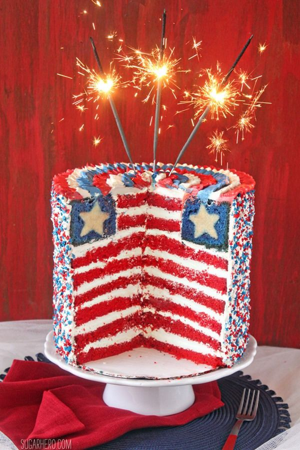 American Flag Layer Cake for the Fourth of July - wow!! | From SugarHero.com