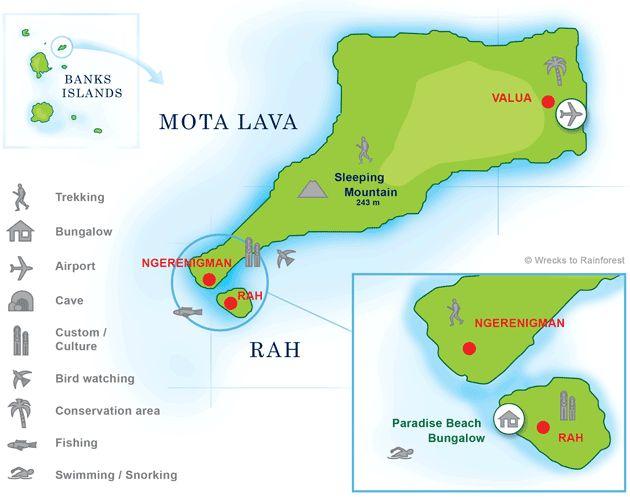 Map of Motalava and Rah Island, Banks Islands, Torba, Vanutau