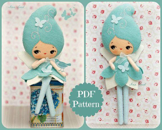 PDF. Blue fairy doll. Plush Doll Pattern Softie by Noialand