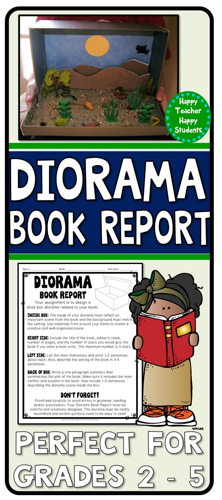 diorama book report directions Diorama book report instructions to complete the diorama correctly the inside of the box should be lined with colored construction paper, or painted.