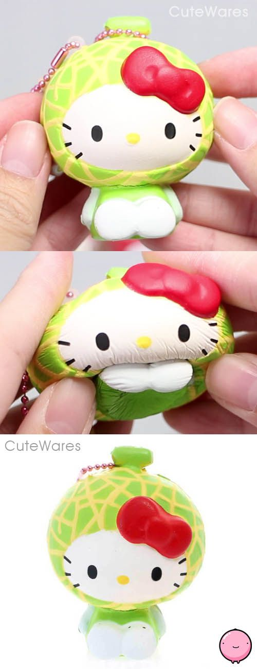 Sanrio Hello Kitty Green Melon Fruit Costume Mascot Soft Squeeze Squishy Cellphone Charms
