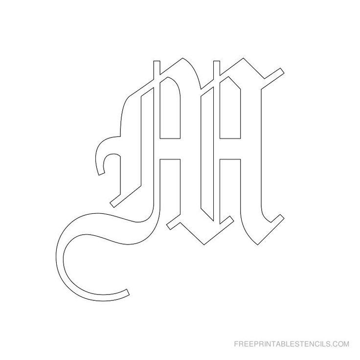 Printable Old English Alphabet Stencil M