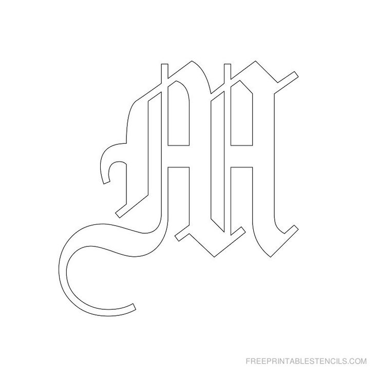 Printable Old English Alphabet Stencil M