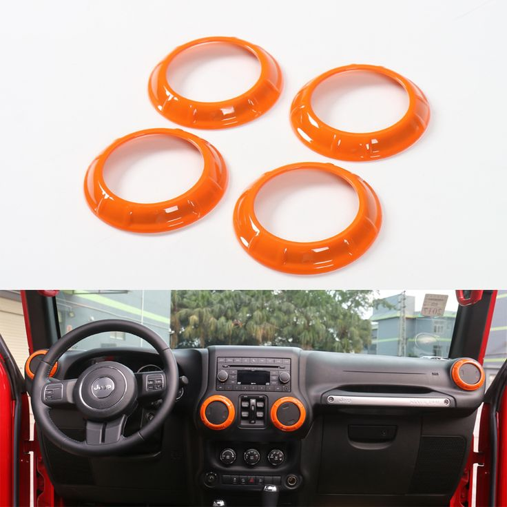 YAQUICKA 4Pcs/set Auto Interior Air Conditioner Outlet Vent Decoration Cover Trim Circle Ring for Jeep Wrangler 2007-2016 #Affiliate