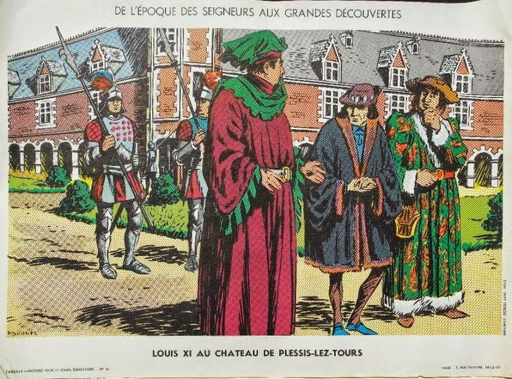 """Manuels anciens: Affiche histoire n°14 """"Louis XI au château de Plessis-Lez-Tours"""""""