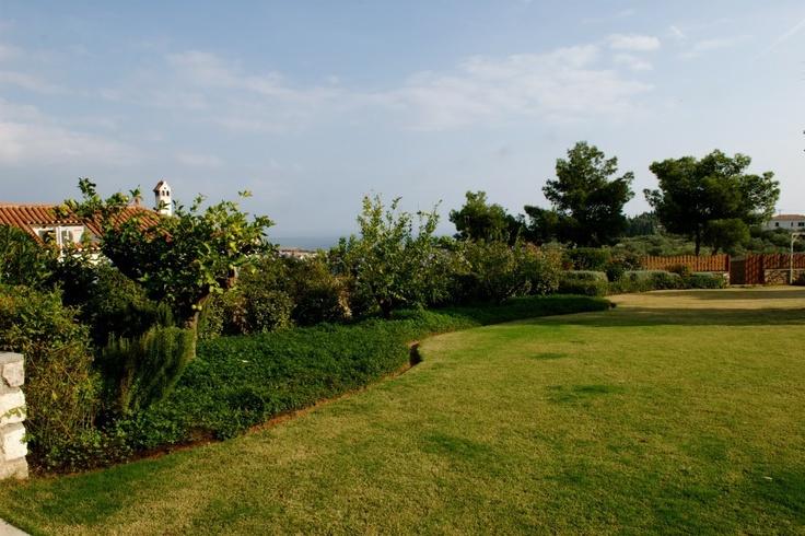 Xenon Estate villas in Spetses - 1500 sqm specially manicured lawn.  www.xenonestate.gr