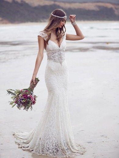 Trompete/Meerjungfrau-Linie V-Ausschnitt Spitze Sweep/Pinsel zug Ärmellos Perlen verziert Wedding Kleider