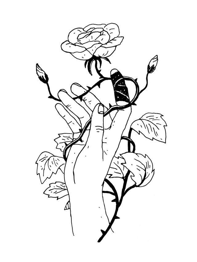 Mão. Rosa. Espinhos. Preto e branco. Desenho. Arte.