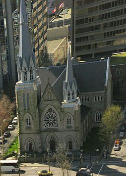 The Metropolitan Cathedral of Our Lady of the Holy Rosary is a late 19th-century French Gothic revival church that serves the Roman Catholic Archdiocese of Vancouver, Canada.  The parish was established in June 1885. In order to pick a site for the first church, legend has it that the new pastor went to the  waterfront, looked south towards the forested land (present-day Downtown Vancouver) and chose the area that contained the tallest tree.