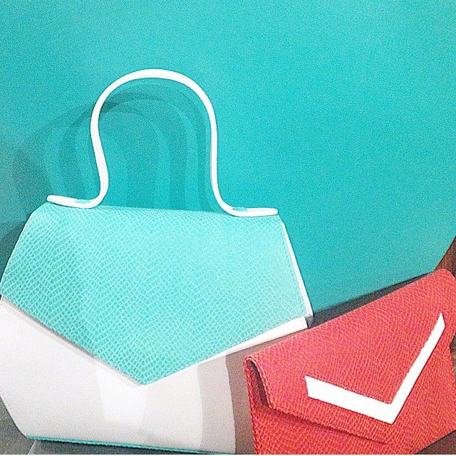 Turquoise and coral: new color for bistrusso bag at @garbo_pr pressday! #garbo #bag #bistrusso #coral #turquoise #colors #accessories