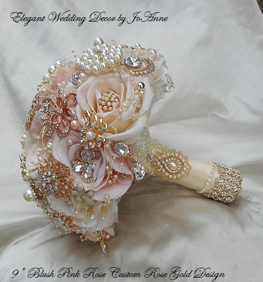 PINK BROOCH BOUQUET- Deposit for a Custom Made Brides Blush Pink & Rose Gold Jeweled Wedding Bouquet, Brooch Bouquet